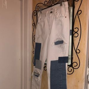 Grlfrnd Patched White Jeans